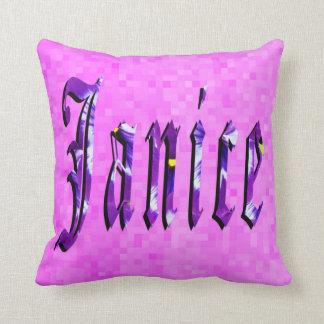 Janice Girls Name Logo, Pink Cushion