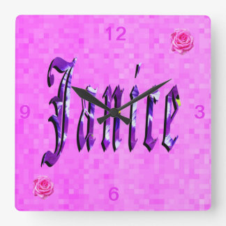 Janice Girls Name Logo, Square Wall Clock