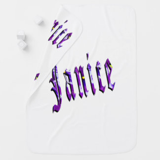 Janice, Name, Logo, White Snugly Baby Blanket. Baby Blanket