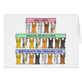 January 12th Birthday Cats Card