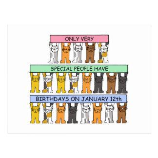 January 12th Birthday Cats Postcard