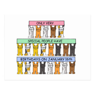 January 16th Birthdays celebrated by cats. Postcard