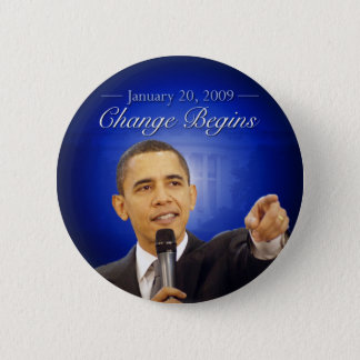 January 20: Change Begins Obama Inauguration Butto 6 Cm Round Badge