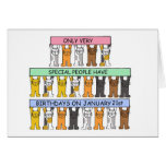 January 21st Birthdays celebrated by cats. Greeting Card