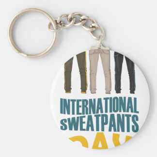January 21st  - International Sweatpants Day Basic Round Button Key Ring