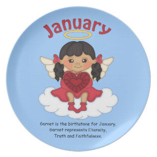 January Birthstone Angel Black Party Plate