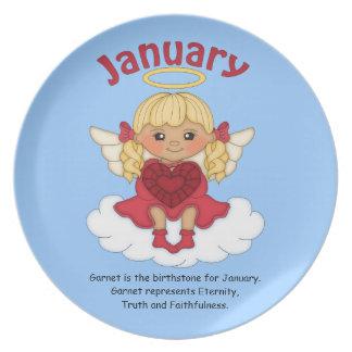 January Birthstone Angel Blonde Plate