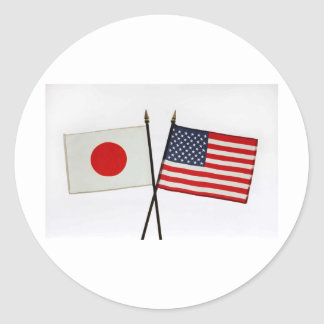JAPAN AMERICAN FLAG CLASSIC ROUND STICKER