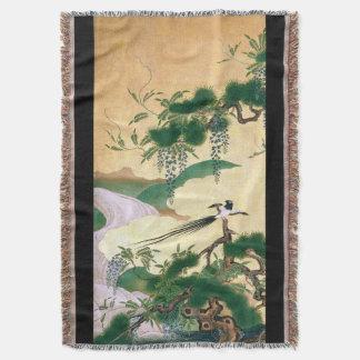 Japan Bird Wisteria Flowers Throw Blanket