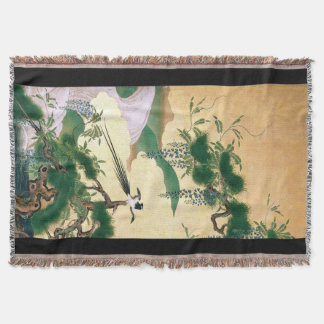 Japan Bird Wisteria Flowers Throw Blanket