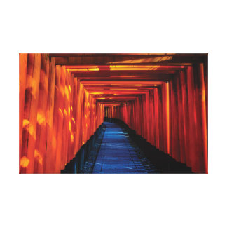 Japan Bright Red Shinto Temple. Canvas Print