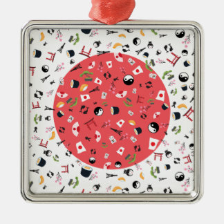 Japan famous items- the land of the rising sun Silver-Colored square decoration