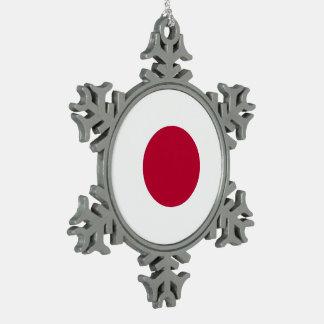 Japan Flag Pewter Snowflake Decoration