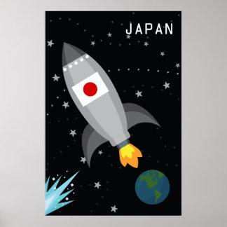 Japan Flag Rocket Ship Poster