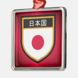 Japan Flag Silver-Colored Square Decoration