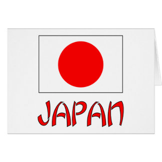 Japan Flag & Word Red Greeting Card