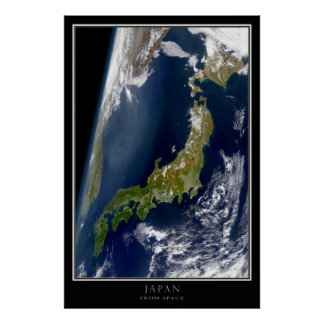Japan From Space Satellite Map Poster
