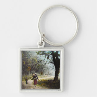 Japan Glass Magic Lantern Slide BAMBOO GROVE Silver-Colored Square Key Ring