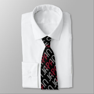 Japan Japanese Flag Colors Typography Pattern Tie