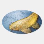 Japan koi fish oval stickers