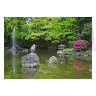 Japan, Kyoto. Heron in fresh green leaves Greeting Card