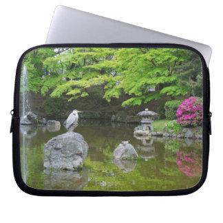 Japan, Kyoto. Heron in fresh green leaves Laptop Computer Sleeve