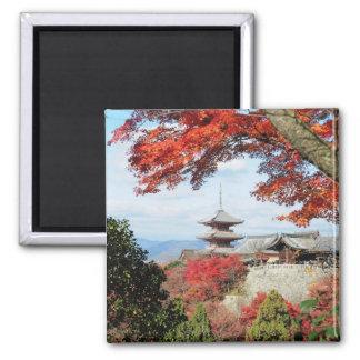 Japan, Kyoto. Kiyomizu temple in Autumn color Square Magnet