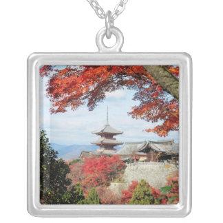 Japan, Kyoto. Kiyomizu temple in Autumn color Square Pendant Necklace