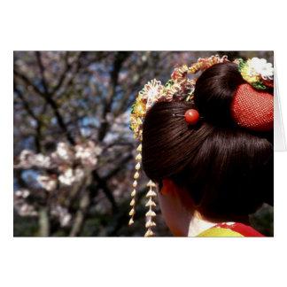 Japan, Kyoto. Rear view close-up of geisha's Card