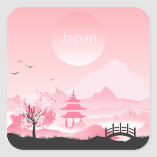 Japan landscape illustration in pink tones square sticker
