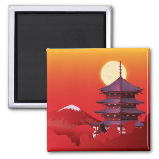 Japan landscape travel cartoon magnet