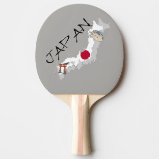 Japan Map and Flag Ping Pong Paddle