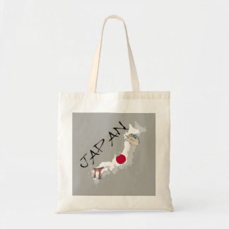Japan Map and Flag Tote Bag