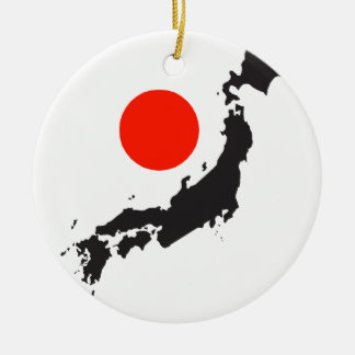 Japan map outline and circle ceramic ornament
