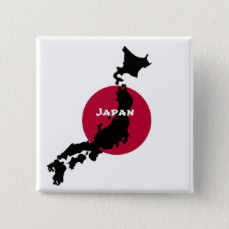 Japan - Map Silhouette and Flag 15 Cm Square Badge