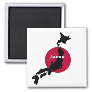 Japan - Map Silhouette and Flag Magnet