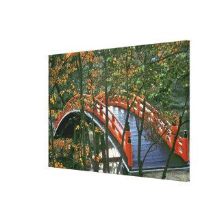 Japan, Nara Pref., Nara. The Royal Bridge glows Stretched Canvas Print