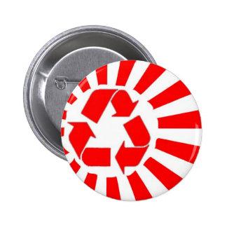 Japan recycling sun flag pinback button