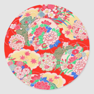 Japan, Sakura, Kimono, Origami, Chiyogami, Flower, Classic Round Sticker