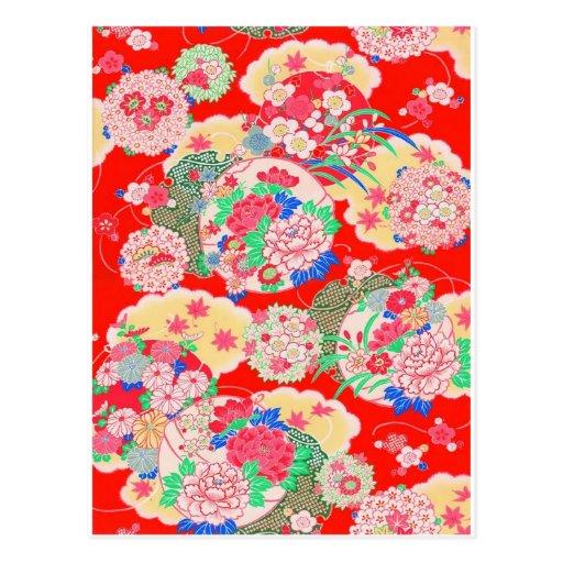 Japan, Sakura, Kimono, Origami, Chiyogami, Flower, Post Cards