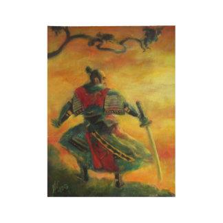 Japan samurai in the mountain wood poster