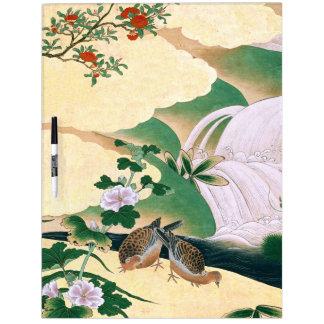 Japan Screen Dove Birds Flowers Dry Erase Board