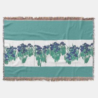 Japan Screen Irises Flowers Throw Blanket