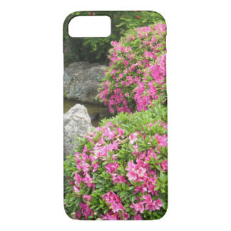Japan stone garden with pink rhododendron flowers iPhone 8/7 case