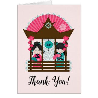 Japan Thank You Kimono Girls Fan Card