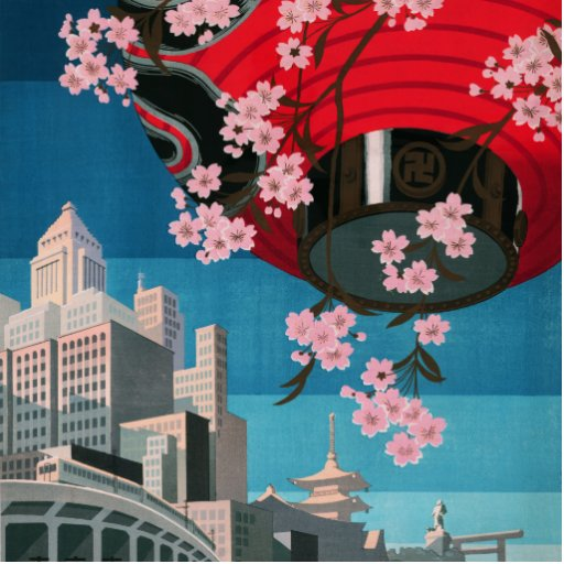 Japan Tokyo Vintage Japanese Travel Poster Photo Cut Out