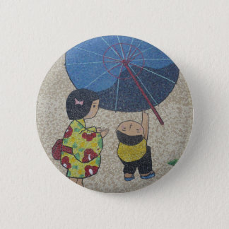 japan umbrella 6 cm round badge