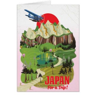 Japan vintage style travel poster card