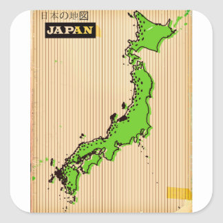 Japan vintage style travel poster square sticker