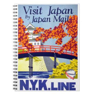 Japan Vintage Travel Poster Restored Spiral Note Book